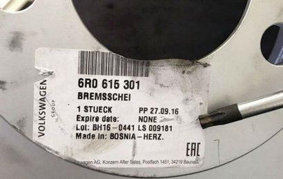 Diskovi za kočnice u Volkswagenovom servisu u Njemačkoj, proizvedeni u BiH